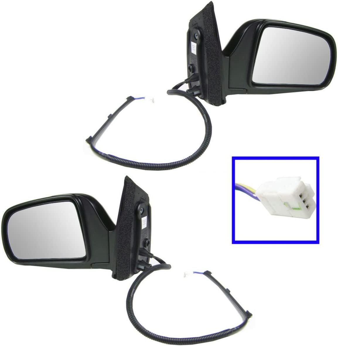 Power Side Mirrors Pair Black Set Left LH /& Right RH for 98-03 Toyota Sienna