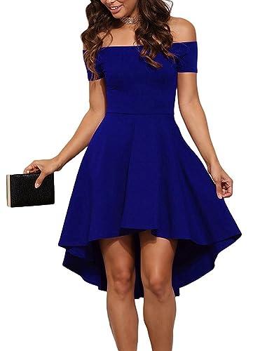 Wearlove Women Off Shoulder Short Sleeve High Low Skater Dress