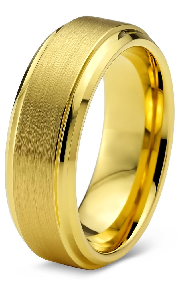 Charming Jewelers Tungsten Wedding Band Ring 6mm Men Women Comfort Fit 18k Yellow Gold Step Bevel Edge Brushed Polished Size 8