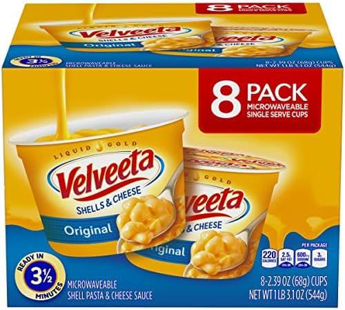 Velveeta Original Shells and Cheese Single Serve Microwave Dinner (2.39 oz Cups, 8 Count)