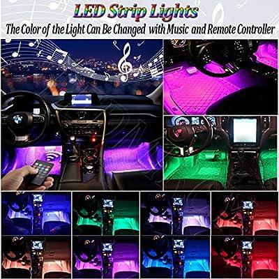 Car LED Strip Light for Cars,36 LED Car Interior Lights 12V Multicolor RGB Interior Car Atmosphere Neon Lights Under Dash Lighting Kit with Music Sounds Activated Wireless Remote Control (12V,36 Leds): Automotive