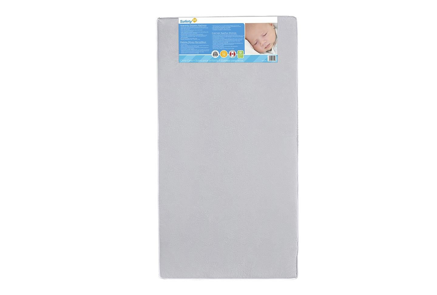 Safety 1st Heavenly Dreams White Crib & Toddler Bed Mattress for Baby & Toddler, Water Resistant, Lightweight, Hypoallergenic, Green Guard Gold Certified by Safety 1st