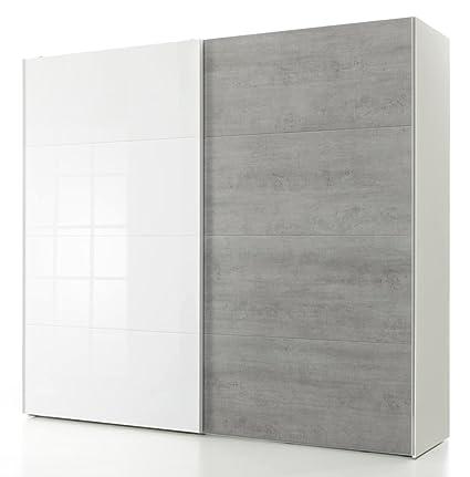 Armadio bianco con 2 ante scorrevoli color Cemento e laccato ...