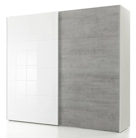 Armadio bianco con 2 ante scorrevoli color Cemento e laccato bianco ...