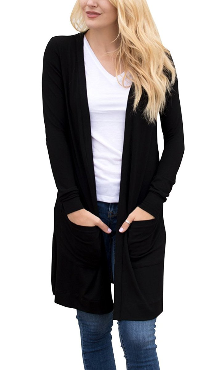 Tribear Women's Long Sleeve Open Front Loose Causal Lightweight Kimono Cardigan(Black,Large)
