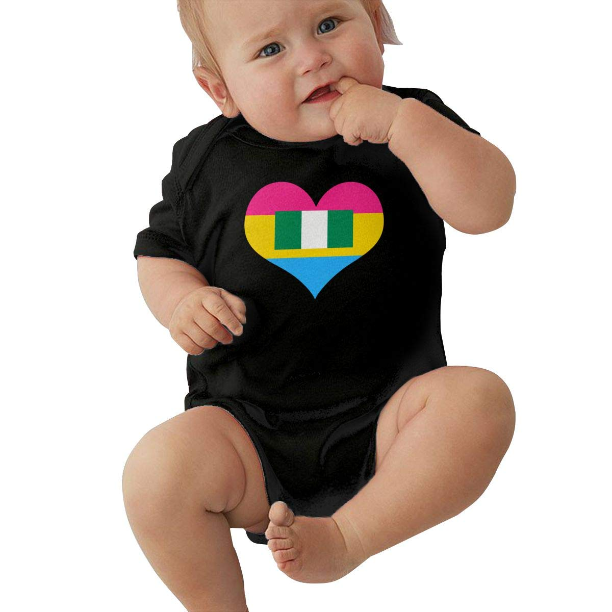 Suit 6-24 Months TAOHJS97 Baby Girls Pansexual Heart Nigerian Flag Short Sleeve Climbing Clothes Bodysuits