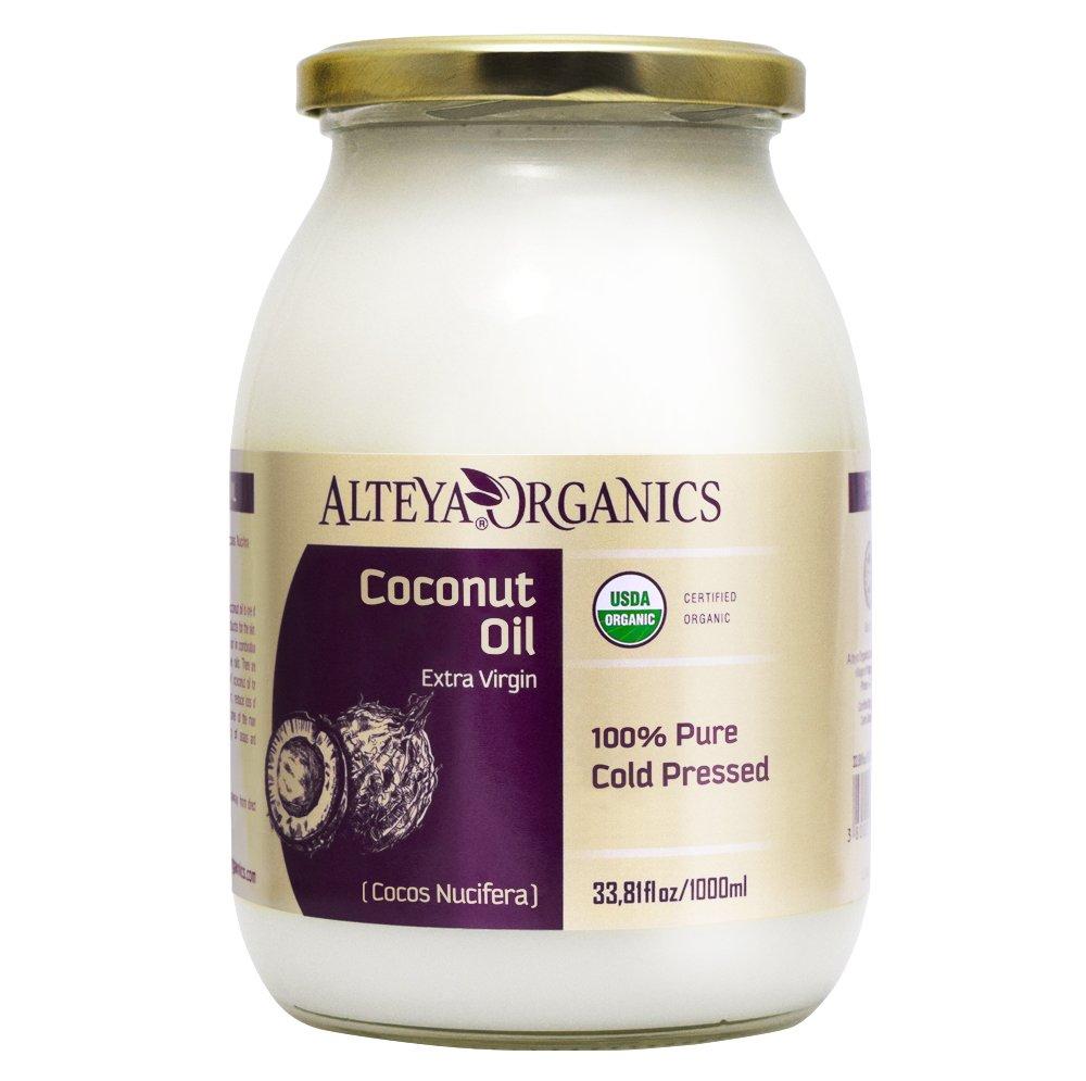 Alteya Organic Olio di Cocco Extravergine 1000 ml – 100% USDA certificato organico puro naturale olio di cocco (Cocos Nucifera) extravergine Alteya Organics