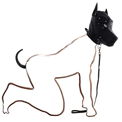 28ae2214e Amazon.com  XIAOBAILONG 2 Pcs Kit Dog Slave Kit Dog Hood With Muzzle And Dog  Tail Butt Plug