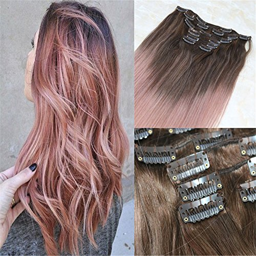 """HairDancing 22"""" Balayage Clip in Extensions Dark Brown Color"""