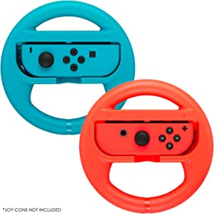 Premium Steering Wheels – Compatible for Nintendo Switch Accessories Pack of 2 Perfect for Mario Kart 8 and All Things Mario Kart (Comes in Red & Blue)