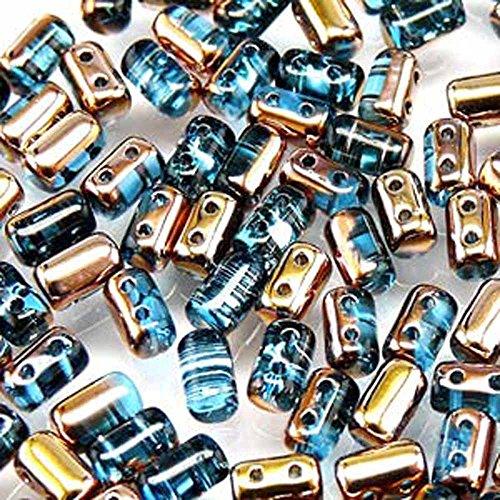 - Czech Rulla Beads 22 Grams 3 x 5mm AQUAMARINE GOLD CAPRI
