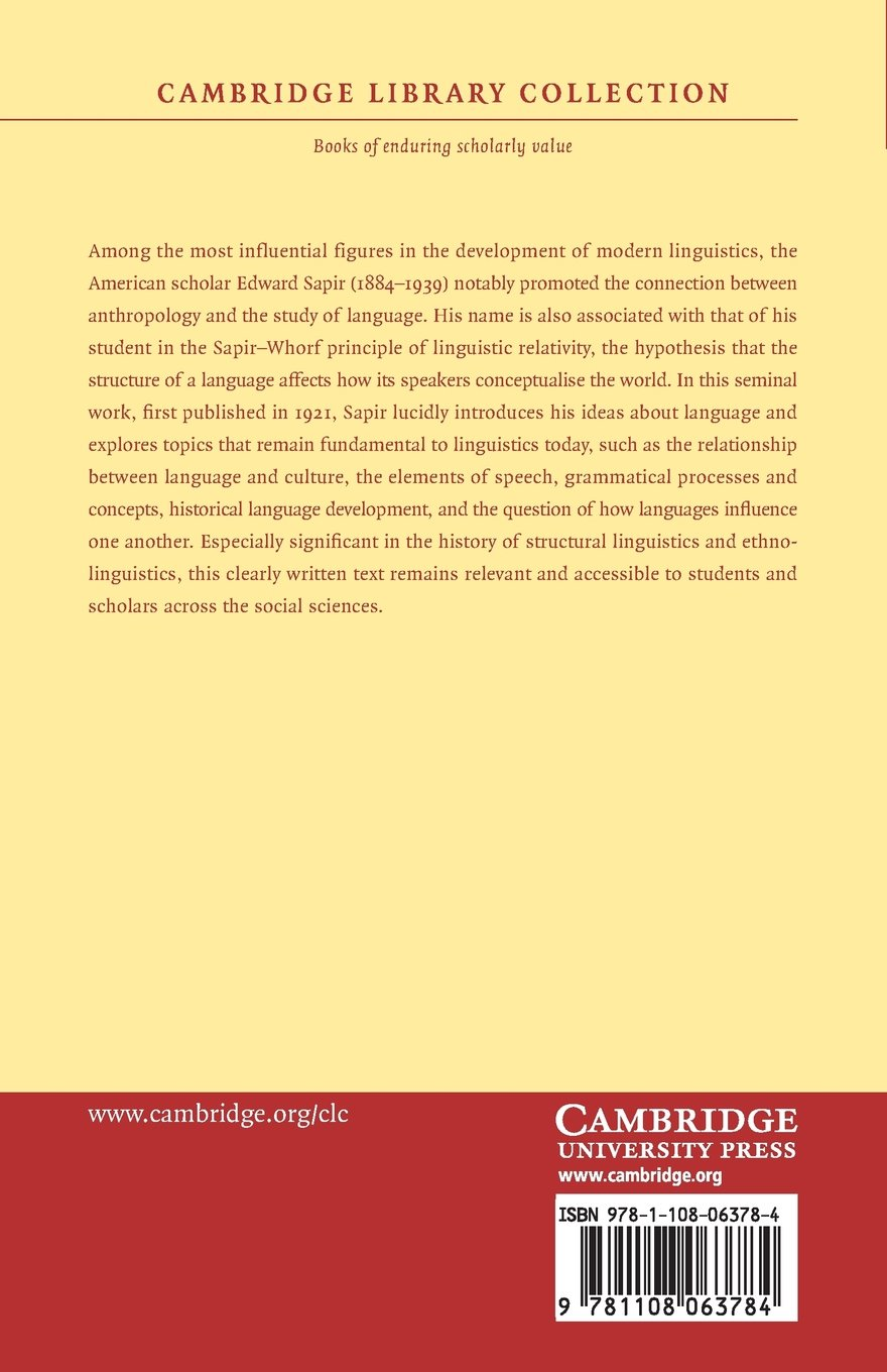 Language: An Introduction to the Study of Speech (Cambridge Library Collection - Linguistics)