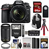 Nikon D7500 Wi-Fi 4K Digital SLR Camera 18-140mm VR & 70-300mm DX AF-P Lens + 64GB + Battery + Backpack + Filters + Tripod + Flash Kit