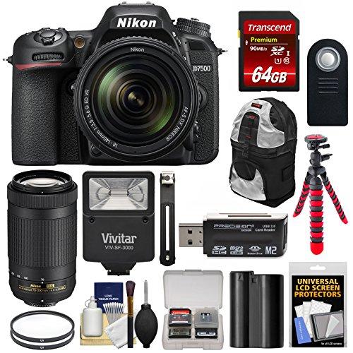 Nikon Camera Backpacks - Nikon D7500 Wi-Fi 4K Digital SLR Camera with 18-140mm VR & 70-300mm DX AF-P Lens + 64GB + Battery + Backpack + Filters + Tripod + Flash Kit