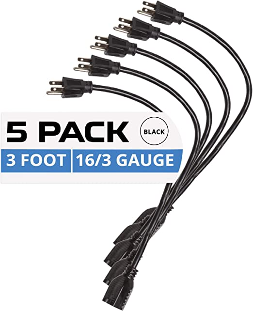 16//3 Durable Black Extension Cord Pack 2 Pack of 8 Ft Outdoor Extension Cords