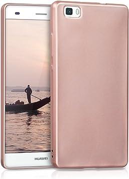 kwmobile Cover Compatibile con Huawei P8 Lite (2015) - Protezione Back Case Silicone TPU Effetto Metallizzato - Custodia Morbida Oro Rosa Metallizzato