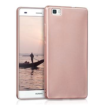 kwmobile Funda para Huawei P8 Lite (2015) - Carcasa para móvil en TPU Silicona - Protector Trasero en Oro Rosa Metalizado