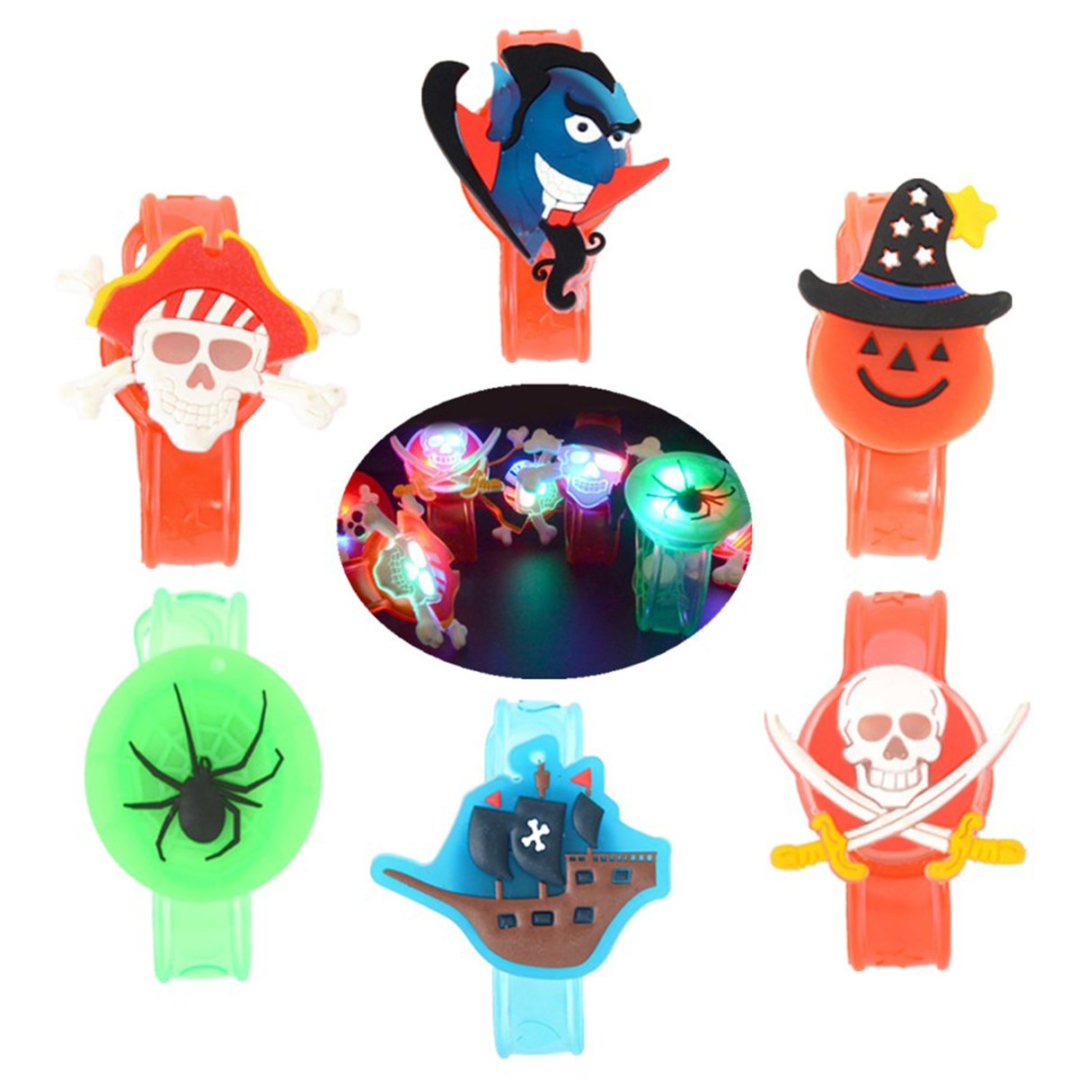 YeahiBaby 6Pcs Light up Bracelets Party Favor Light Up Wristbands for Halloween Chritmas Festival Dance Party by YeahiBaby (Image #4)