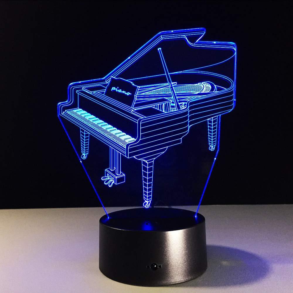Lifme Lampada Da Tavolo Strumento Musicale Retrò Pianoforte 7 Colori Lampada Da Tavolo Cambiante Lampada 3D Novità Notte Luci A Led Luce Led