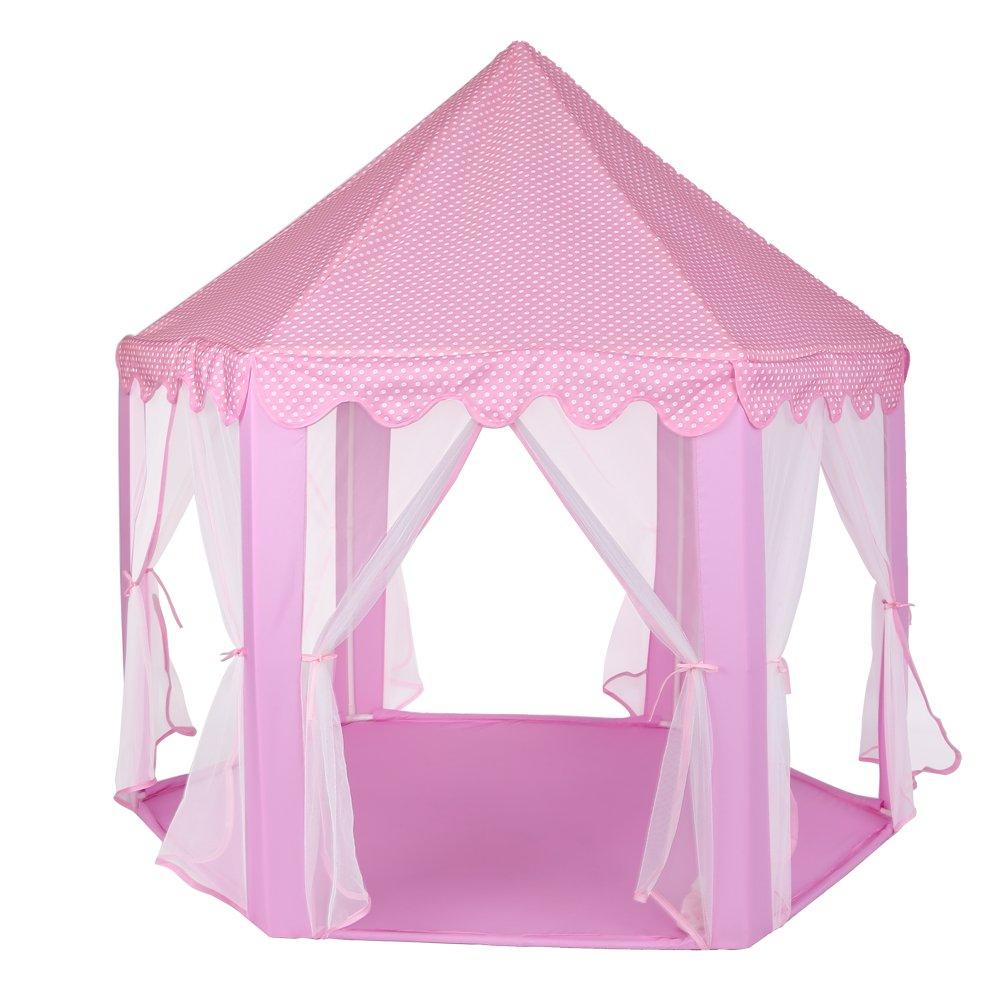 Tienda de Campaña Infantil para Niños Castillo de Princesa, Casita de Juego Plegable para Interior y Exterior con Luces de colores Estrellas Brillantes en la Oscuridad, Regalo Perfecto para Ninos Niña Yosoo