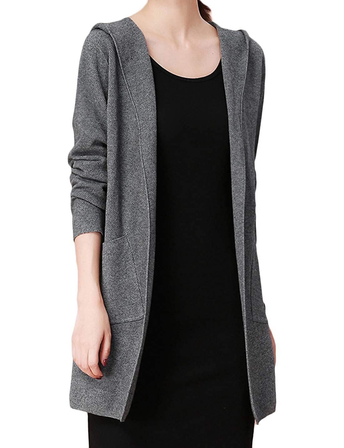 652a973c0 Lentta Womens Open Front Mid Length Hooded Knitted Cardigan Sweater ...
