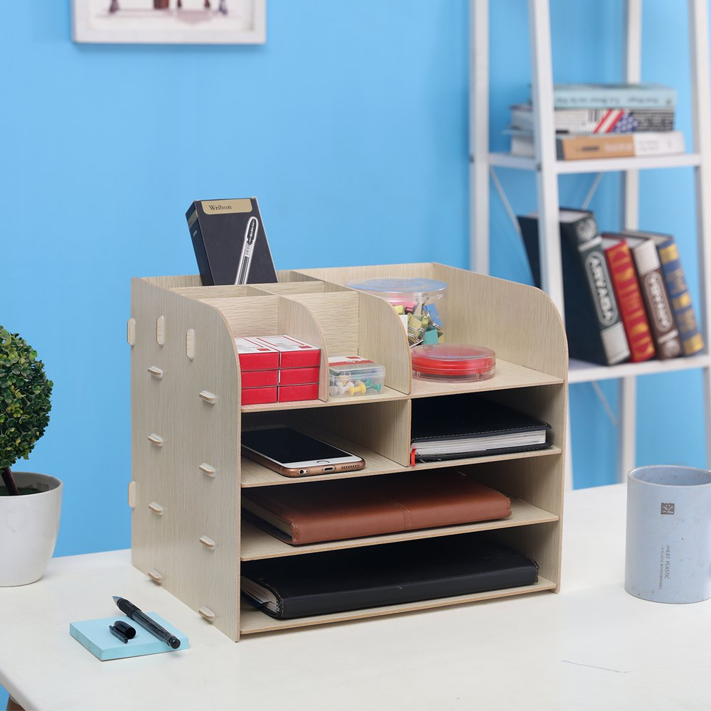 HomJoy Wooden Desktop Organiser Brown 4 Tiers DIY Home Office Supplies Storage Cabinet with 2 A4 File Holder Sections and 8 Compartments