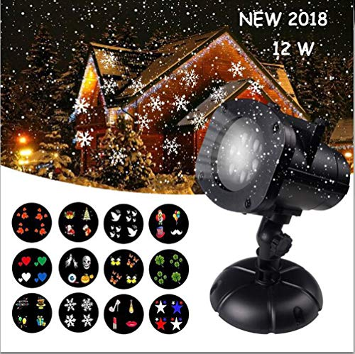 Insert White Laser - Christmas Projector Lights Outdoor, Jeniulet 12 Patterns Waterproof Decorations Indoor LED Light White Moving Light Snowflake Lamp for Landscape Garden Holiday Party