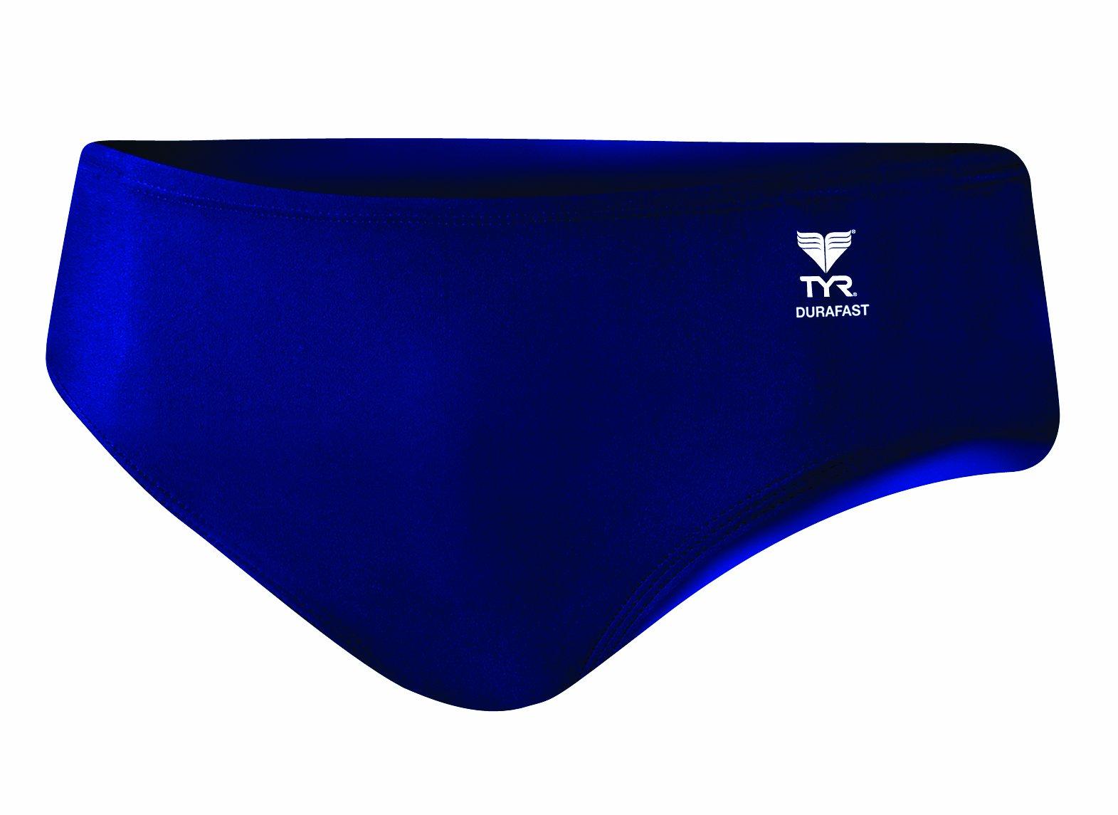 TYR Men's Durafast Elite Solid Racer Swim Suit (Navy, 34)