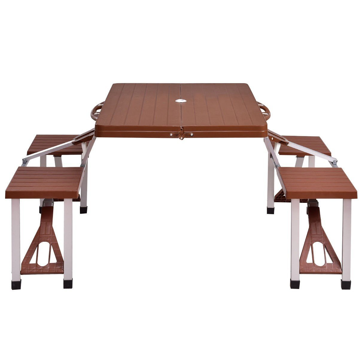 MD Group Picnic Table Outdoor Foldable Aluminum Bench Seats Lightweight Camping Portable Dining Table Set