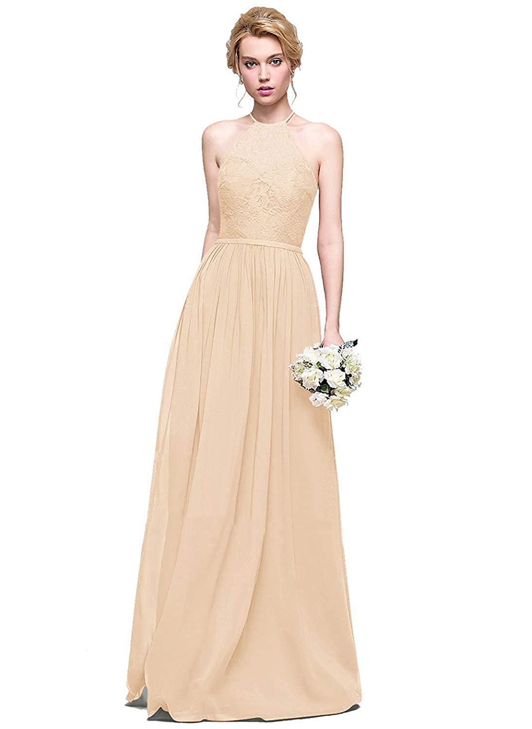 Champagne Halter Lace Sweetheart Neck Bridesmaid Dresses Long Prom Evening Gown