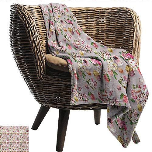 - EwaskyOnline Tea Comfort Blanket British Design Old Vintage Retro Image of Antique Tea Set Print Bedding Throw, or Blanket Sheet 51