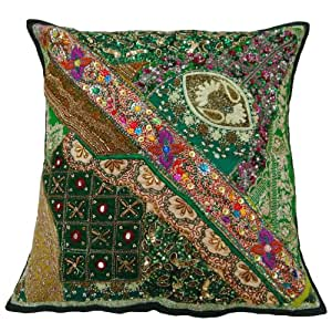 Ethnic Patch Work Pillow Case Green Designer Beaded Cushion Cover Throw Indian Gift Art 22 X 22 Inches