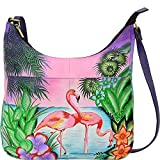 Anuschka Anna Handpainted Leather Medium Shopper Bag, Tropical Flamingo