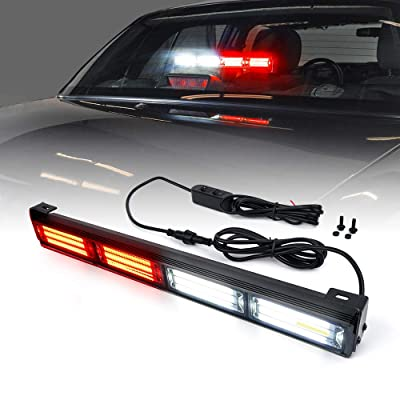 Xprite 18 Inch Red and White COB Traffic Advisor Strobe Lights Bar w/ 21 Flash Patterns, Hazard Warning Directional Flashing Fire Firefighter LED Light for Emergency Vehicles Trucks: Automotive