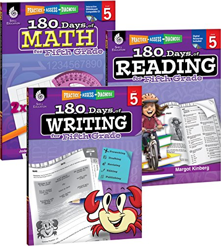 180 Days of Reading, Writing and Math for Fifth Grade 3-Book Set (180 Days of Practice)