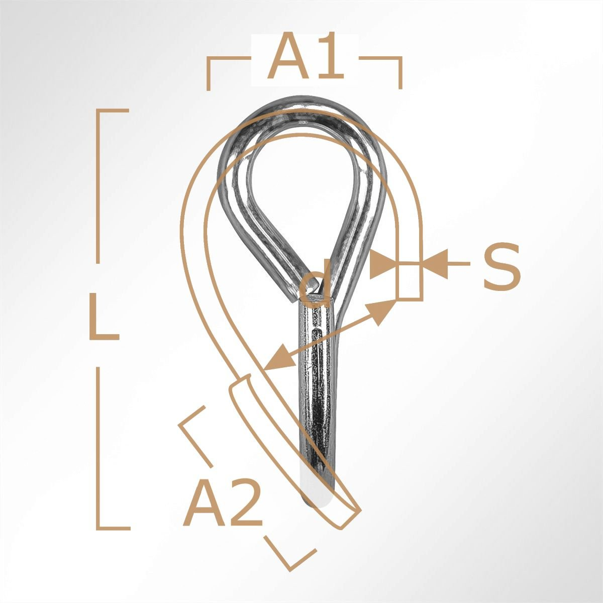LYSEL S-Haken asymmetrisch gedreht, L 50mm in grau 1 St/ück