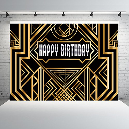 (Dudaacvt 8X6ft Black Photography Backdrops Great Gatsby Happy Birthday Golden Abstract Geometric Background Gold Grill Photo Studio Props for Artdeco)