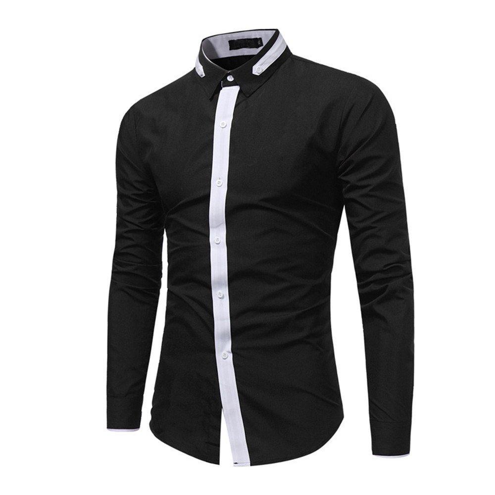 Shirts For Men, Clearance Sale !! Farjing Men's Autumn Casual Formal Print Slim Fit Long Sleeve Shirt Top Blouse(M,Black)