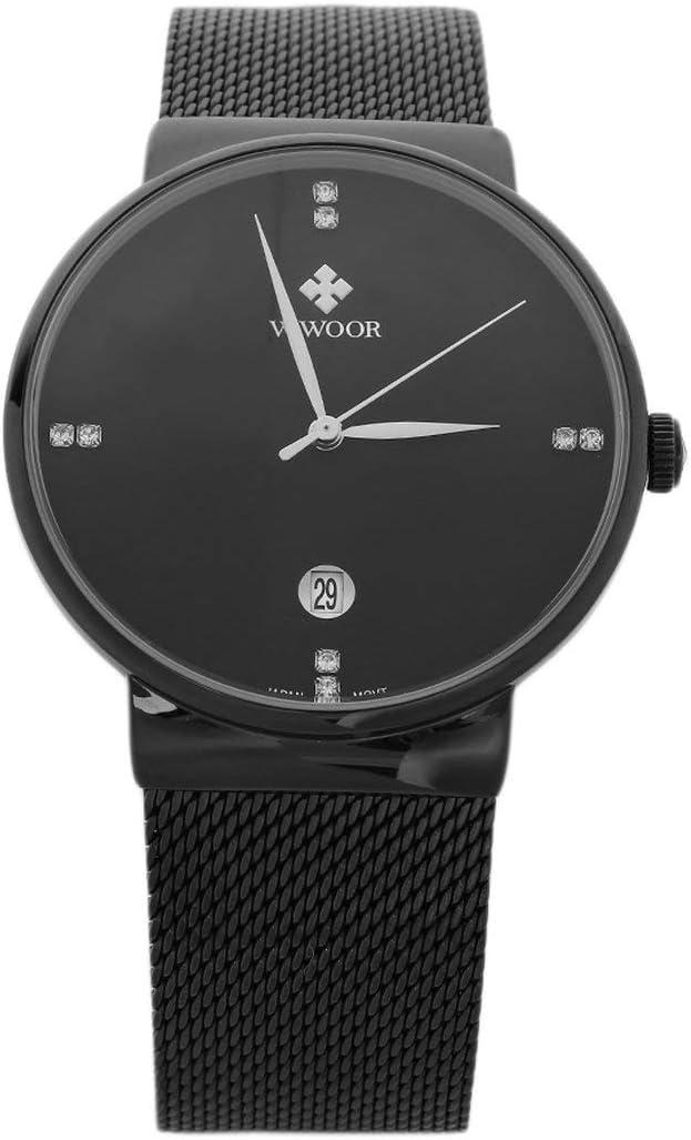 Kongqiabona WWOOR 8018 - Reloj de Pulsera para Hombre, diseño de Cuarzo, Correa de Acero Inoxidable, Color Dorado