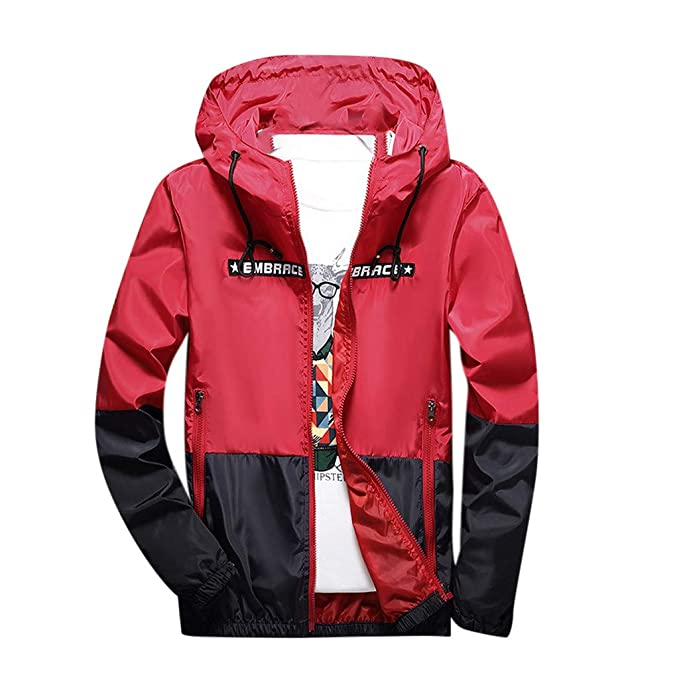 Homeparty Mens Spring Winter Alphabet Printing Color Collision Hoodie Outdoor Jacket Coat at Amazon Mens Clothing store: