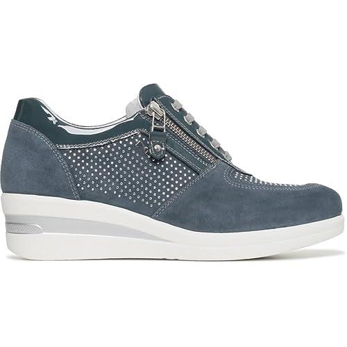 Nero Giardini Donna Sneakers Blu (Avio) Scarpe in Pelle Primavera Estate  2018 0afef4b3382