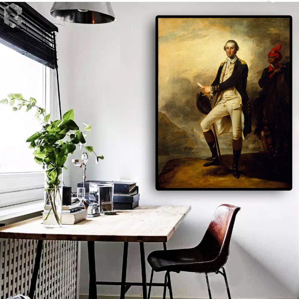 RTCKF Pintura al óleo sobre Lienzo del Famoso Retrato Vintage de George Washington en la Sala de Estar (sin Marco) A6 60x90cm: Amazon.es: Hogar