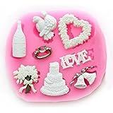 Longzang Love Christmas Fondant Silicone Sugar Craft Mold, Mini, Pink