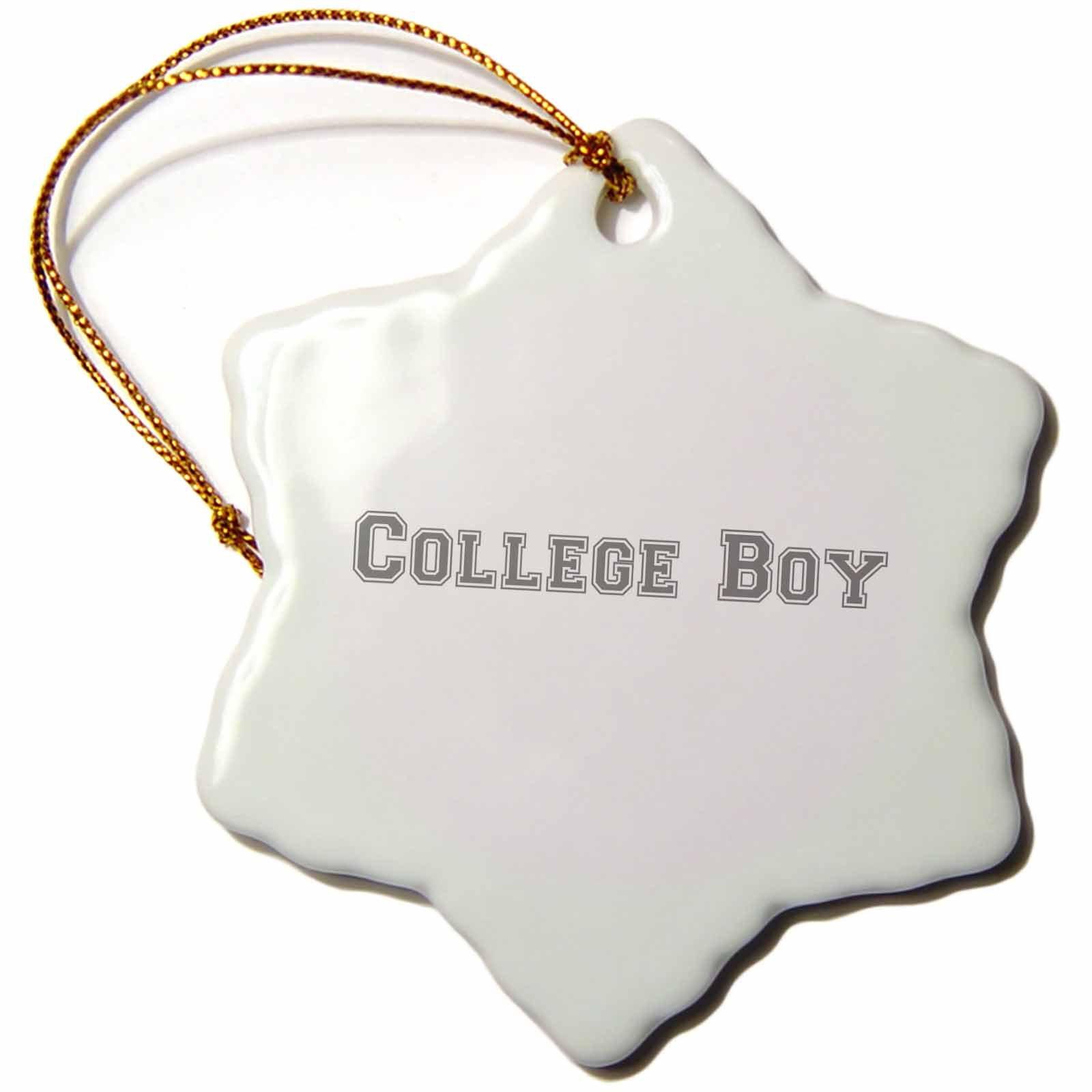 3dRose orn_151215_1 College Boy Text Grey-Gray Retro Preppy Font-University Students School Fashion-Snowflake Ornament, 3-Inch, Porcelain