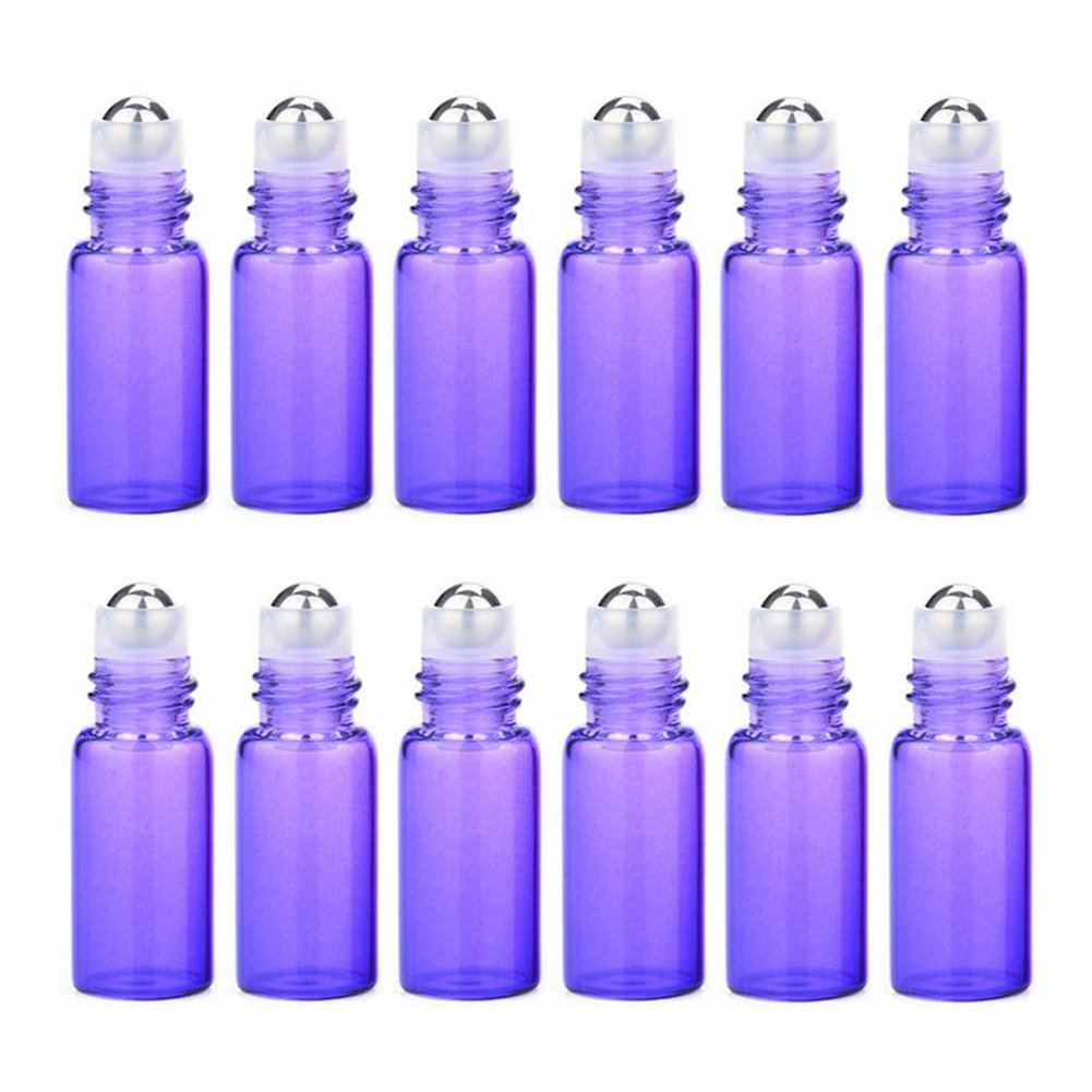 12PCS Empty Glass Essential Oil Sample Packing Roller Roll-on Bottles with Metal Roller Balls and Black Cap Makeup Aromatherapy Perfumes Lip Balms Vial Storage Container Jar Pots (3ml, Purple)