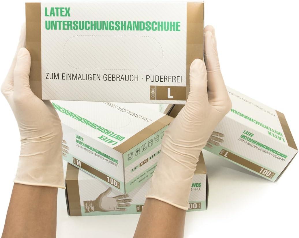Gr/ö/ße S TouchGuard Box mit 100 St/ück puderfrei Latex Nat/ürliche Einweghandschuhe