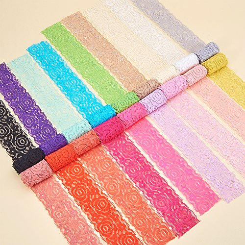 BENECREAT 18 Yards Lace Fabric Stretch Elastic 1.57 inches Wide Trim Lace for Headbands Garters Wedding Bouquet Making - 18 Colors 1 Yard Each