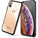 Meidom iPhone Xs Case with Air Cushion Technology and Anti Fall,Full Protective Glass Cover Case for iPhone Xs-Glass Black