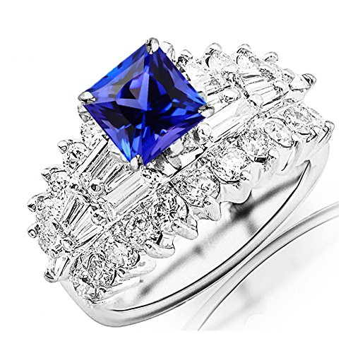 3.65 Carat t.w 14K White Gold Exquisite Prong Set Bageutte And Round Diamond Engagement Ring w/ a 1.5 Carat Princess Cut Purple Tanzanite Heirloom Quality