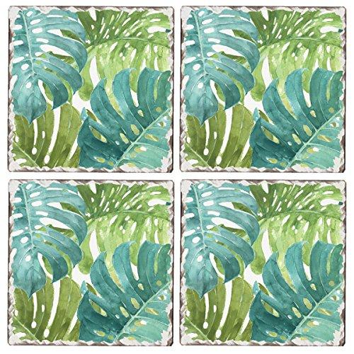 Cala Home Set of 4 Tumbled Tile Coasters, Tropical Green